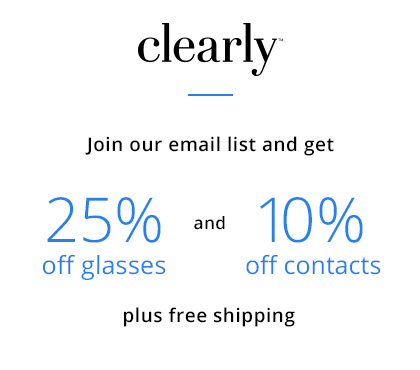 First time customer offer 25% off glasses and 10% off contacts including free shipping