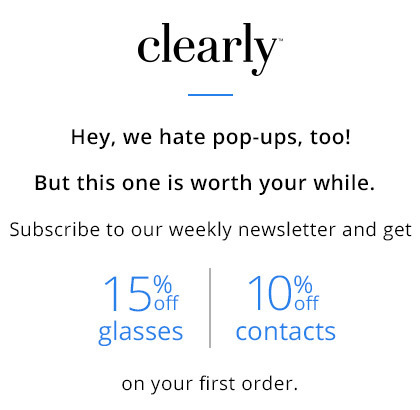 First time customer offer 15% off glasses and 10% off contacts including free shipping