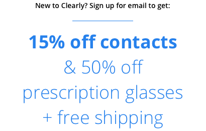 First time customer offer 15% off glasses and 15% off contacts including free shipping